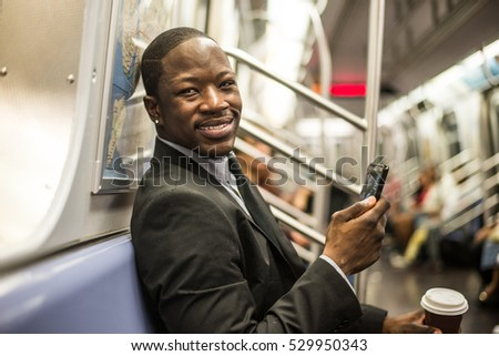 Businessman in full suit in New York subway metro #529950343
