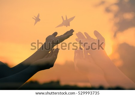 Human hands open palm up.Silhouette of one helping hand,Silhouette of woman praying over beautiful sky background,Silhouette of pigeon and freedom, #529993735