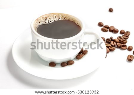 Coffee cup with beans isolated on white. Path included #530123932