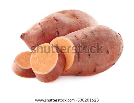 Sweet potato in closeup on a white background Royalty-Free Stock Photo #530201623