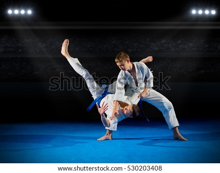 Boys martial arts fighters in sports hall Royalty-Free Stock Photo #530203408