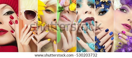 Collection of rainbow colored makeup and nail designs for every holiday and time of year. #530203732