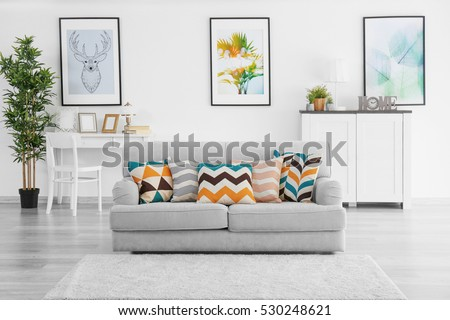 Modern living room with grey couch #530248621