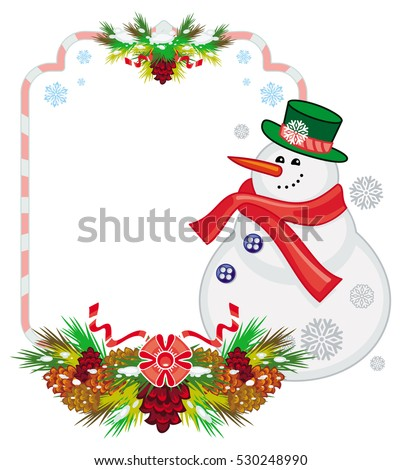 Holiday frame with snowman, pine branches and cones. Christmas design element. Raster clip art.