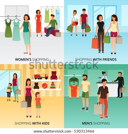 Shopping concept icons set with women and men shopping symbols flat isolated vector illustration  #530313466