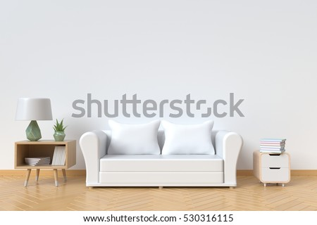 The interior has a White sofa and lamp on empty white wall background,3D rendering #530316115