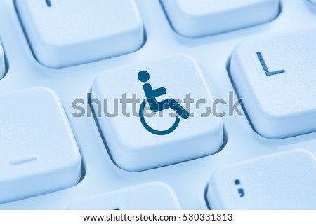 Web accessibility online internet website computer for people with disabilities symbol blue keyboard #530331313