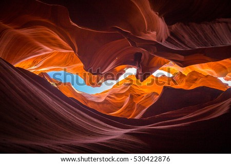 Beautiful wide angle view of amazing sandstone formations in famous Antelope Canyon near the historic town of Page at Lake Powell, American Southwest, Arizona, USA #530422876