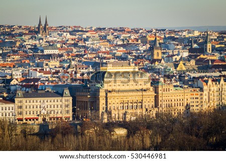 The National Theater with Prague city in background.  #530446981