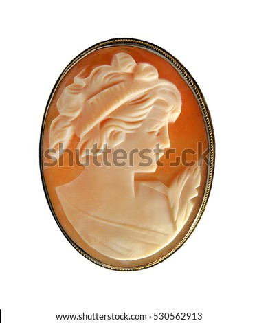 Antique Cameo Pin isolated on a white background #530562913