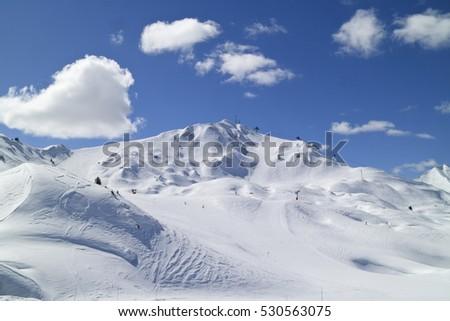 Ski and snowboard slopes in high mountains, La Plagne, Paradiski, France.  #530563075