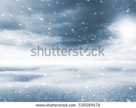 Winter background. Winter landscape with snow field and storm clouds