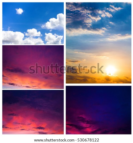 Sky set. Sky daylight collection. Natural sky composition. Element of design. #530678122