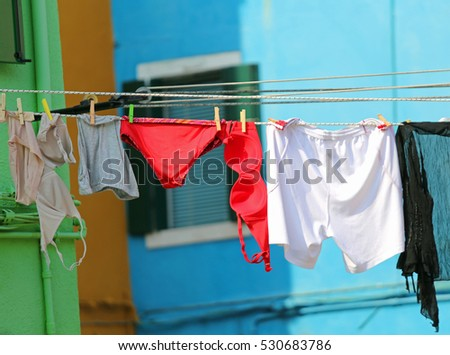 underwear for woman with bras and panties hanging in the sun #530683786
