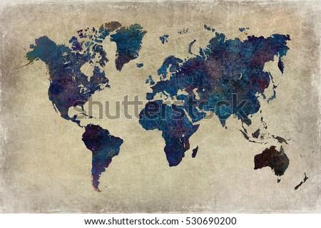 world map grunge background
