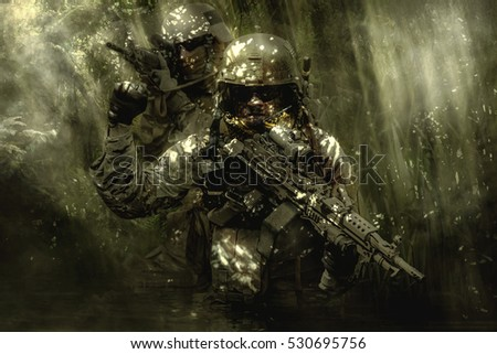 Green Berets soldiers in the jungle #530695756