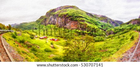 Panoramic view on Nature of Norway from the passenger train. Flam, Norway. Oil painting effect. #530707141
