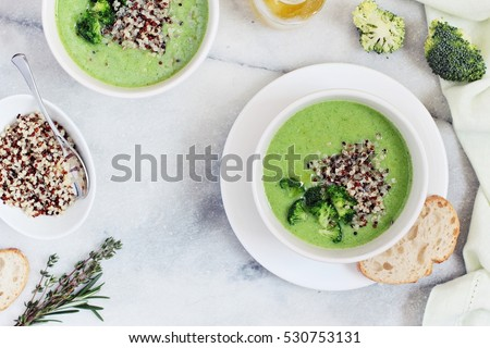 Broccoli soup with quinoa topping. Super foods and clean eating concept.Selective focus