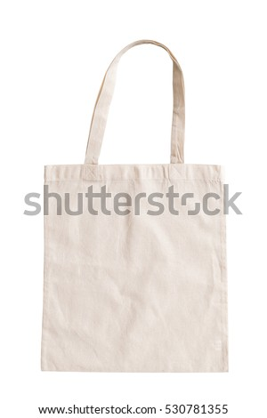 Tote bag canvas fabric cloth shopping sack mockup blank template isolated on white background (clipping path)  Royalty-Free Stock Photo #530781355