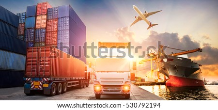 Logistics and transportation of Container Cargo ship and Cargo plane with working crane bridge in shipyard at sunrise, logistic import export and transport industry background #530792194