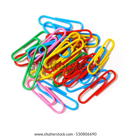 Paper clips isolated on white background Royalty-Free Stock Photo #530806690