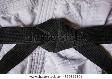 Black Belt Knot (Black and White) Royalty-Free Stock Photo #530811826