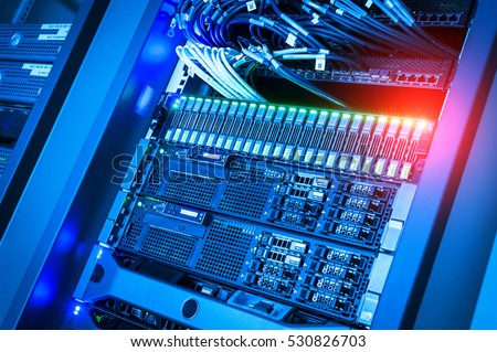 Network servers in data room Domestic Room . Royalty-Free Stock Photo #530826703