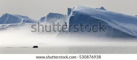 Polar regions of Earth. Icebergs of various forms and sizes. Climatic changes and growth of average annual temperature on the planet. Reduction of the area of polar ices and catastrophic thawing. #530876938