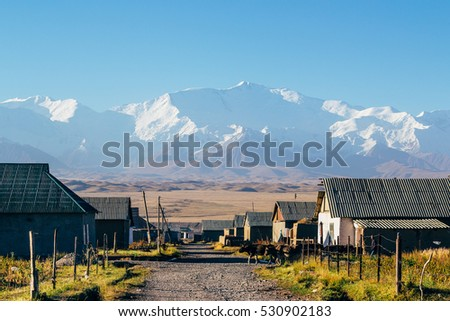Beautiful landscape of the Pamir mountains in South Kyrgyzstan. The village of Sary-Mogul.