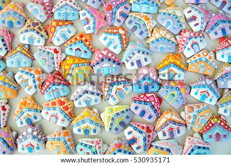 Colorful House , Christmas Card , Gingerbread cottage  , Houses  cookies #530935171