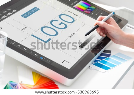 logo design brand designer sketch graphic drawing creative creativity draw studying work tablet concept - stock image Royalty-Free Stock Photo #530963695