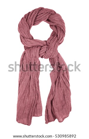Purple wool scarf isolated on white background. Female accessory. #530985892