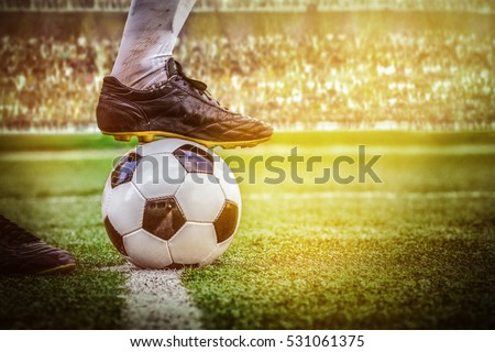 soccer football kick off in the stadium Royalty-Free Stock Photo #531061375