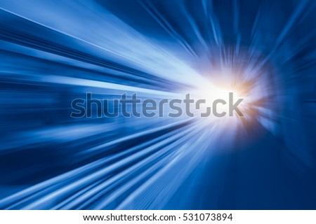 High speed business and technology concept, Acceleration super fast speedy motion blur of train station for background design.