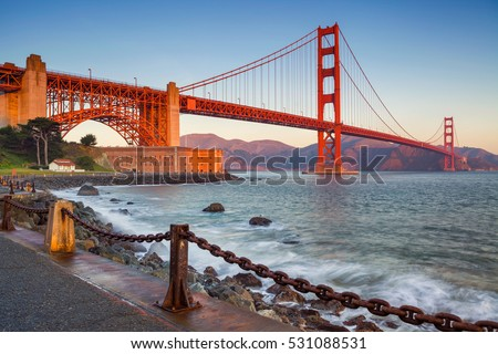 San Francisco .Image of Golden Gate Bridge in San Francisco, California during sunrise. #531088531
