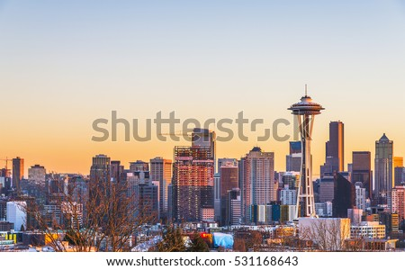Seattle city scape on nw year day at sunset,Washington,usa.