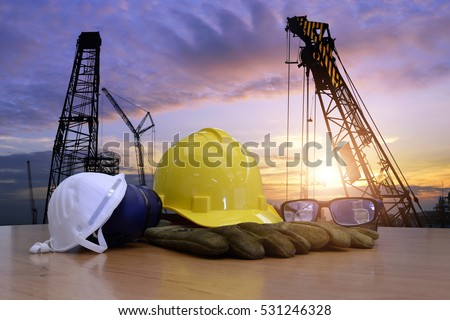 Standard construction safety and construction site background. #531246328