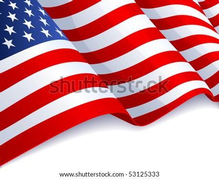 USA flag in white background - raster version #53125333