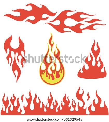 Red fire, old school flame elements, isolated vector illustration
