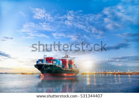 Logistics and transportation of International Container Cargo ship in the ocean at twilight sky, Freight Transportation, Shipping #531344407