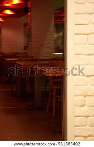 Interior small cozy corner cafe #531385402