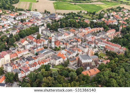 aerial view of the Paczkow town in Poland #531386140