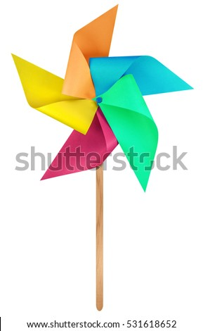 Colorful paper windmill pinwheel isolated on white with Clipping Path #531618652