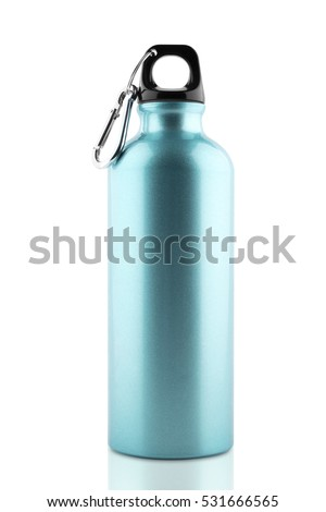 Aluminum bottle water isolated white background with clipping path #531666565