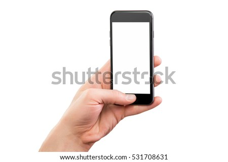Male hand holding black cellphone isolated at white background.