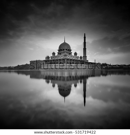 Putra Mosque Putrajaya, Malaysia.Image has grain or blurry or noise and soft focus ( long exposure photography)