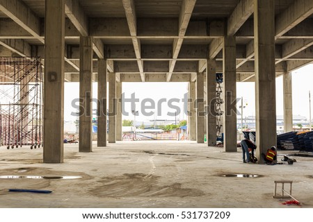 Construction site with crane and building Royalty-Free Stock Photo #531737209