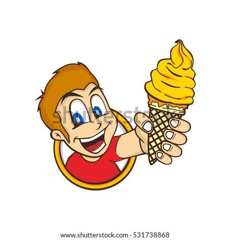 cartoon guy holding ice cream