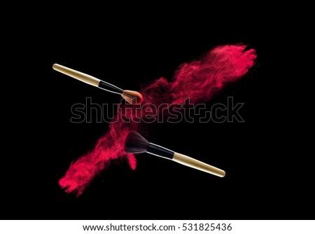 makeup brushes with powder splash  #531825436