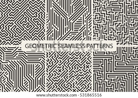 Collection of striped seamless geometric patterns. Digital design.